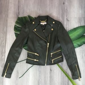 Michael Kors Green Faux Leather Jacket✨New!